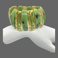 Asian Lucite Green and Gold-tone Bracelet