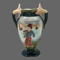 Majolica Art Nouveau Continental Figural Vase