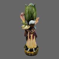 Majolica French Peasant Boy Figural Vase