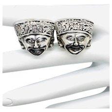 Sterling Taxco Silver Inca God Cufflinks