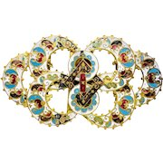 19th Century French Champleve Enameled Buckle