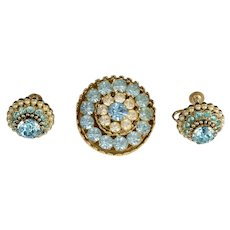 Coro Faux Seed Pearl & Ice Blue Brooch & Earrings