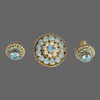 Exquisite & Rare Faux Seed Pearl & Ice Blue Demi Parure Set