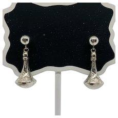 Vintage Hand Engraved Sterling Silver Earrings