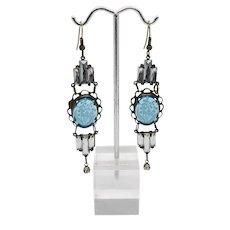 Art Deco 1920s Intaglio Glass Earrings