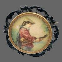 Portrait Miniature Brooch w/ Man & Lute