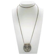 Silver Filigree Purse Locket Pendant Necklace