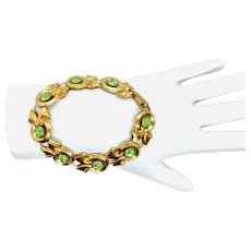 1940s Gorgeous Green Rhinestone Bracelet