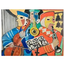 """Ariel 1965, Oil Painting Abstract, """"Three Musicians"""""""