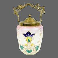 Art Nouveau Ormolu Stipple Painted Biscuit Barrel