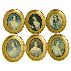 Early 1900s Set of Six Framed Beauties