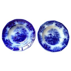 Pair Flow Blue Cup Plates - Davenport - Amoy Pattern
