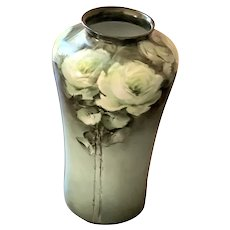 Beautiful Vintage Hand Painted Vase - White Roses - Long Stems