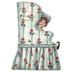 Vintage Mechanical Valentine Card - Peek A Boo - Girl In Chair