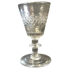 Early American Geometric Pressed and Blown Wine Glass c.1830