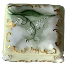 Small Hand Painted T&V Limoges Covered Box - Lily Of The Valley Flowers