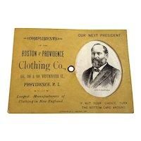 1880 Victorian Advertising Trade Card - Presidential Election - Garfield / Hancock