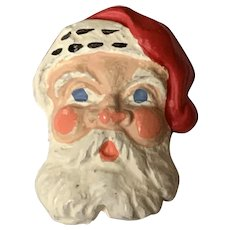 Vintage Wooden Christmas Pin - Santa Claus Face