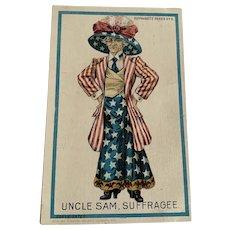 Vintage 1909 Patriotic Postcard - Uncle Sam Suffragette