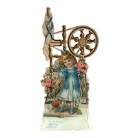 Small Victorian Pull Open Valentine Card - Girl , Spinning Wheel