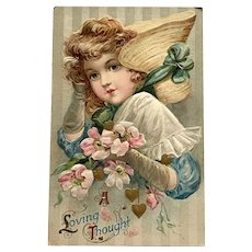 Vintage John Winsch Valentine Postcard - Pretty Girl - Bonnet - Hearts