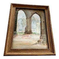 Vintage T & V Limoges Hand Painted Framed Plaque - Architectural Arches