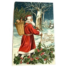 1911 Christmas Postcard - Santa Claus With Pack Of Toys Hikes To Village