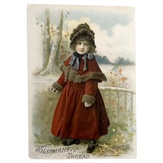 1887 Victorian Trade Card - Willimantic Thread - Girl In Red Coat