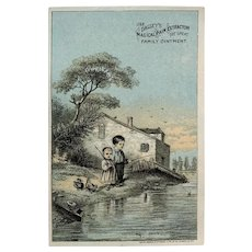 Victorian Trade Card - Dalleys Magical Pain Extractor Ointment - Children Fishing