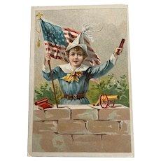 Victorian Trafe Card - Krell Pianos - Boy With Firecracker , Flag