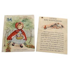 Vintage Get Well Greeting Card With Story - Little Red Riding Hood
