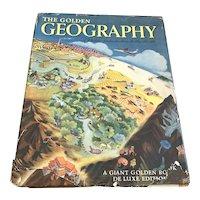 1952 Children's Book Giant Golden Book Of Geography - DJ
