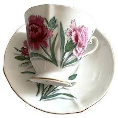 Roslyn Bone China Tea Cup & Saucer - Carnation Pattern