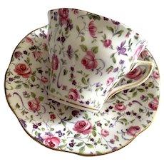 Rosina Bone China England Tea Cup & Saucer - Small Roses