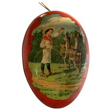 Medium Paper Mache Easter Egg Candy Container - Boy & Girl