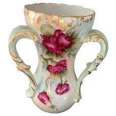 Vintage T & V Limoges Hand Painted Three Handled Vase  - Roses