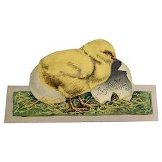 Vintage Die Cut Easter Card - Baby Chick - Egg
