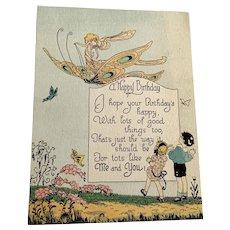 1925 Birthday Card - Fairy On Butterfly