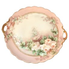 Lovely Hand Painted Handled Plate - Pink Roses - Signed