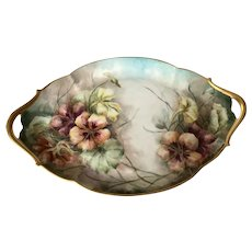 Lovely Hand Painted T & V Limoges Handled  Tray - Pansies