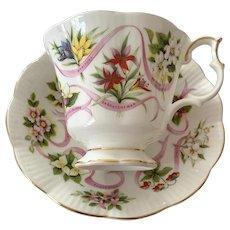 Royal Albert Bone China Tea Cup & Saucer - Canadian Emblems Pattern