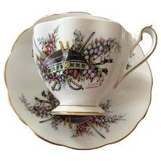 Queen Anne Bone China Tea Cup & Saucer - Glengarrys - Clan Gordon