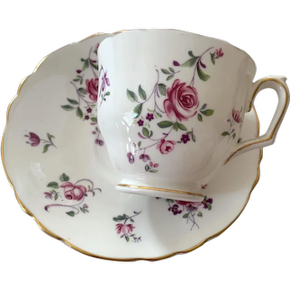 Crown Staffordshire Bone China Teacup & Saucer - Roses