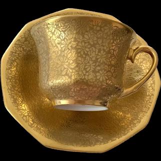 Pickard Bavaria Teacup & Saucer - Gold - Etched Flowers # 687