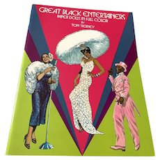 1984 Tom Tierney Uncut Book Of Paper Dolls - Great Black  Entertainers