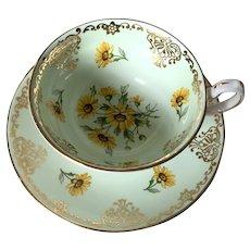 Vintage Bone China Teacup & Saucer - Grosvenor - Brown Eyed Susan - Daisy's
