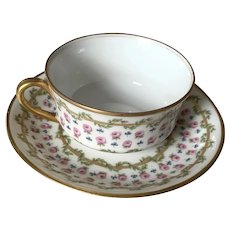 Limoges Teacup & Saucer - M. Redon - Small Roses
