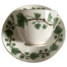 Crown Staffordshire Bone China Teacup & Saucer - Green Leaves & Berries
