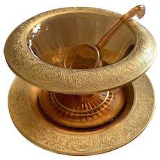 Vintage Amber Cambridge Glass 3PC. Mayonnaise Set - Gold Rim