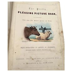 Rare  Early Victorian Hand Colored Children's Book - Dean & Son - Painted Picture Play Book